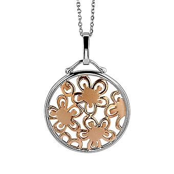 PENDANT WITH CHAIN FLOWERS SATIN 925 SILVER AND ROSEPLATED