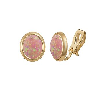 Eternal Collection Minuet Pink Opal Gold Tone Stud Clip On Earrings