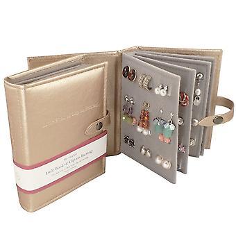 Colección Eterna Oro pequeño libro de pendientes Organizador para clip en pendientes