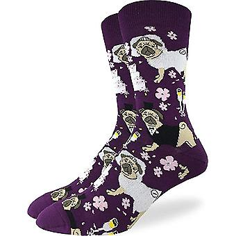 Socks - Good Luck Sock - Men's Crew Socks  - Wedding Pugs (7-12) 1446