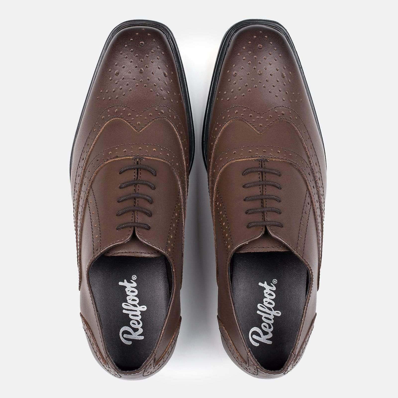 Mens brown leather oxford brogue shoe