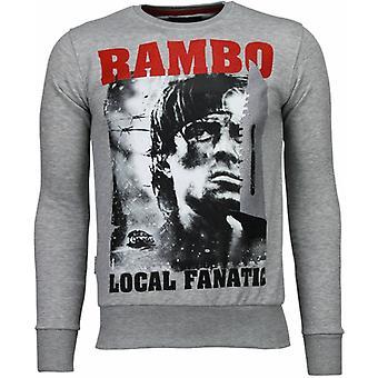 Rambo-Rhinestone Sweatshirt-Gris