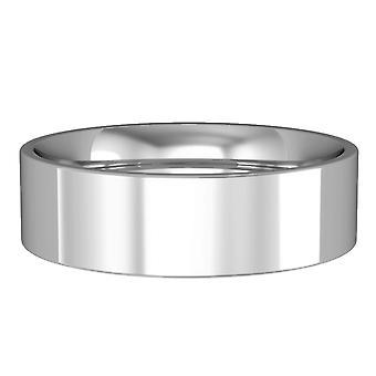 Jewelco London 9ct White Gold - Impegno di 6mm Flat-Court Band / Anello di nozze