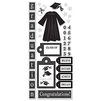 Paper Sticker - Graduation Icons - w/ Foil 5.5'' x 12'' Toys Gifts Stationery New pscb324