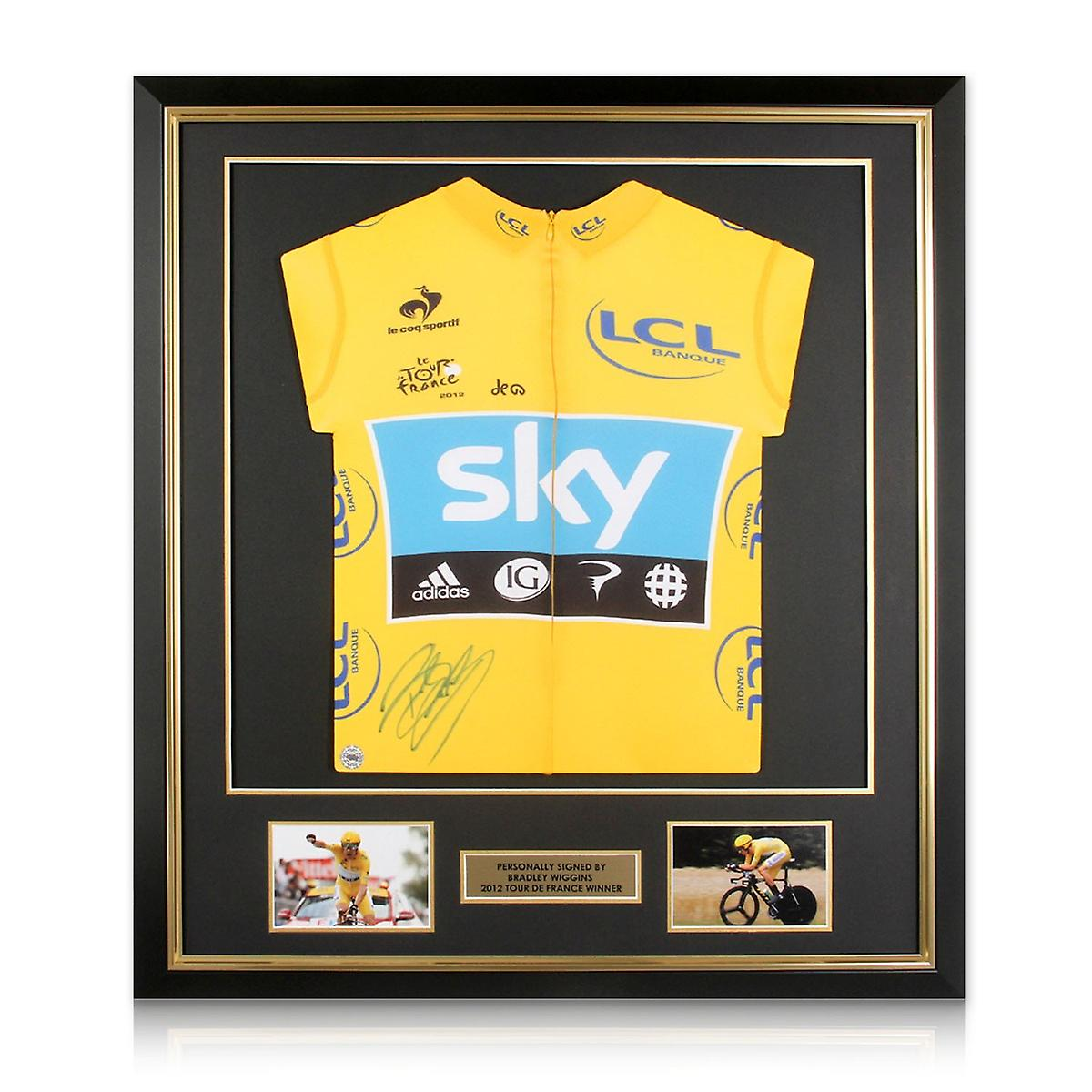 Bradley Wiggins Signed Tour De France 2012 Yellow Jersey Deluxe Frame