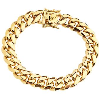 Iced out bling stainless steel bracelet - Miami Cuban 12mm gold