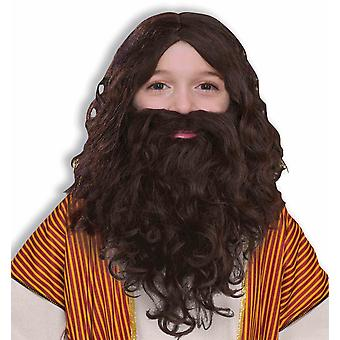 Jesus Christ Holy Man Christmas Bibilical Child Boys Costume Wig Beard Moustache