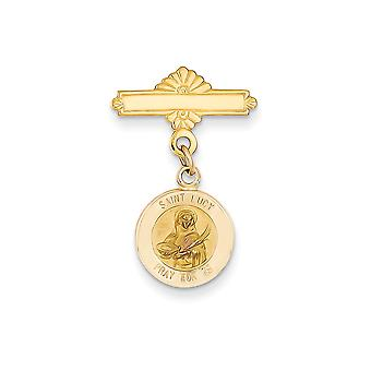 14k Yellow Gold Solid Polished back Not engraveable Polished and satin Saint Lucy Religious Medal Pendant Necklace Pin M