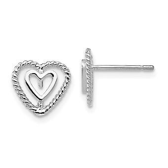 14k Ouro Branco Textura Polida Brincos De Coração Amor Brincos de Coração Mede 10x10mm Presentes de Jóias para Mulheres