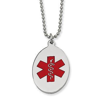Rostfritt stål polerad Engravable Fancy hummer stängning röd emalj Oval medicinsk hängsmycke halsband - 22 tum