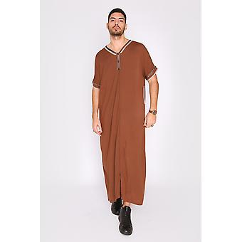 Gandoura sevilla men's short sleeve full-length pocket robe thobe in brown