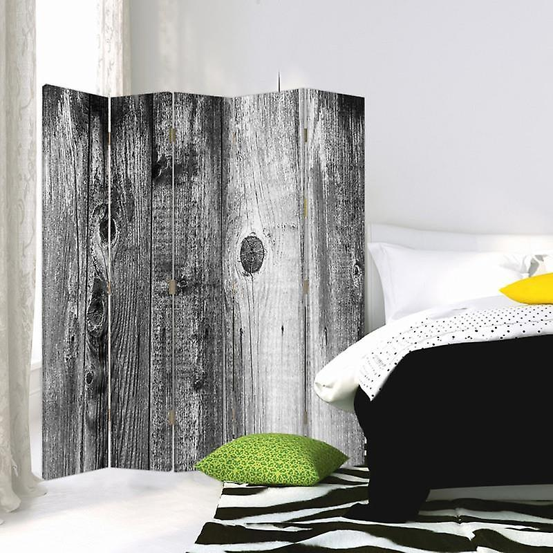 Room Divider, 5 panneaux, Double-Sided, Rotatable 360 ?? Canvas, Rustic Board 2