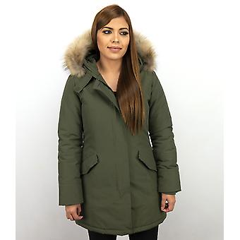 Long Parka Coat - With Fur Collar - Khaki