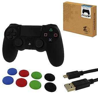 Protect & play kit for ps4 inc silicone cover, thumb grips & 3m charging cable - black