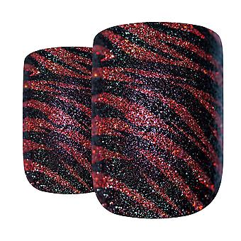 False nails by bling art glitter red black french manicure fake medium tips glue