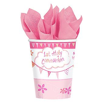 Amscan Communion église rose tasses (Pack de 8)