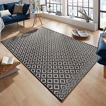 Flat fabric carpet Avenue in hand-knotted macrame look Black