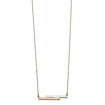 Elements Gold White & Yellow Gold Double Bar Necklace GN290