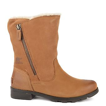 Sorel Emelie Foldover Camel Brown Leather And Suede Boot