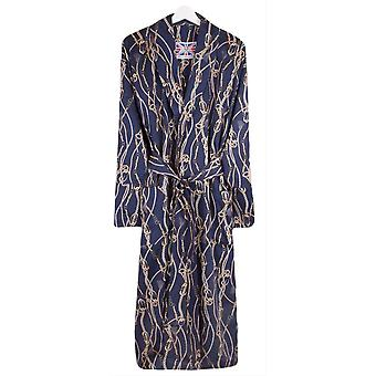 Bown of London Morocco Chain Print Dressing Gown - Navy/Gold