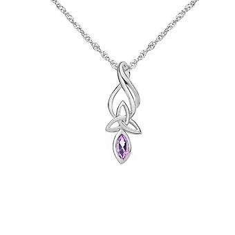 Celtic Holy Trinity Knots Oval Shape Necklace Pendant - A Real Amethyst Gemstone - Includes A 18