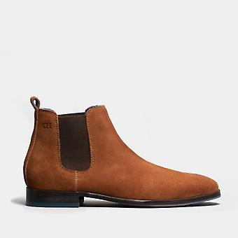 Oswin Hyde Vinnie Mens Suede Chelsea Boots Rust
