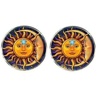Bassin ja ruskea aurinko ja Crescent Moon Face kalvosinnapit-keltainen/sininen