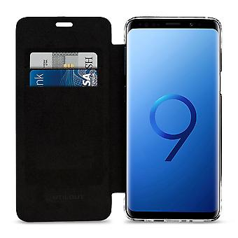 Case For Samsung Galaxy S9 In Genuine Leather Black Anti Rfid / Nfc