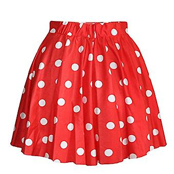 AvaCostume Women's High Waisted Candy Colors Polka, Red, Size Small(fits S/M/L)