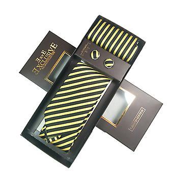 Tie, Cufflink & Hankerchief Set Exlusive Milan Collection 100% Hand Made Black with Yellow Stripe
