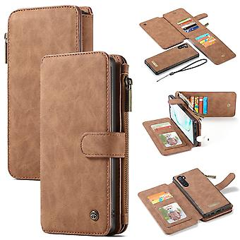 For Samsung Galaxy Note 10 Case, Wallet PU Leather Detachable Flip Cover, Brown