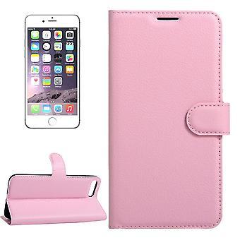 لفون 8،7 محفظة القضية، أنيقة ليتشي غطاء جلدي واقية دائمة، الوردي