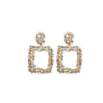 Boucles d'oreilles Rhinestone Crystal Rectangle Drop - Or