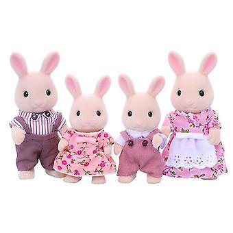 Sylvanian Families melk konijn familie - vader + moeder + broer zus instellen