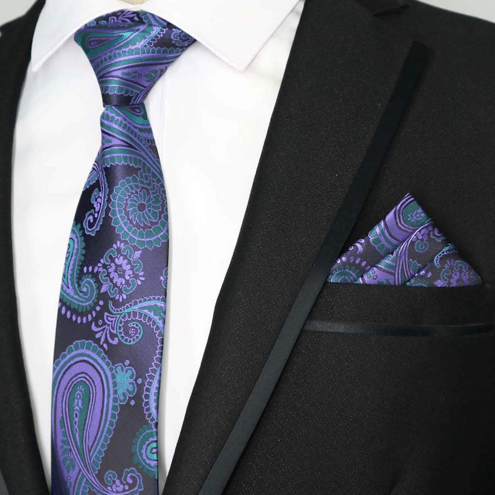 Turquoise two tone purple & green paisley pocket square