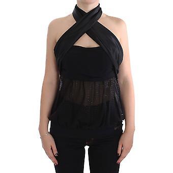 Exte Black Neck Wrap Top Blouse