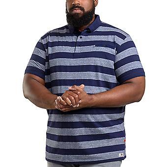 Duke D555 Mens Holt King Size Big Tall Short Sleeve Striped Polo Shirt - Navy