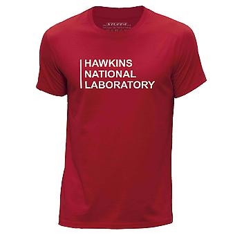 STUFF4 Hombres's Round Neck Camiseta/Hawkins National Laboratory/Red