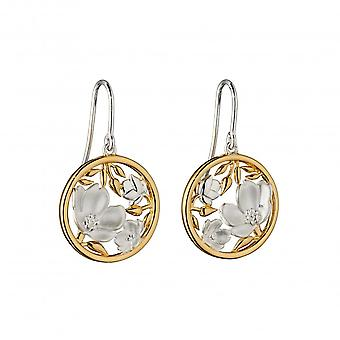 Elements Silver Sterling Silver Cherry Blossom Disc Yellow Gold Plating Earrings E5842