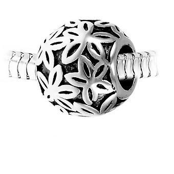 Charm pärla hjärta stål av SC Crystal BEA0186