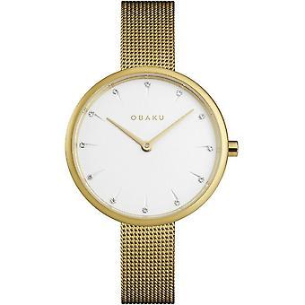 Obaku Notat Gold Tone Women's Mesh Strap Wristwatch V233LXGIMG