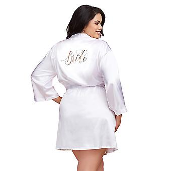 Womens Plus Size White Satin Bride Robe Bridal Honeymoon Sleepwear