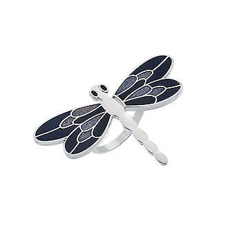 Dragonfly Enamel Scarf Ring - Purple
