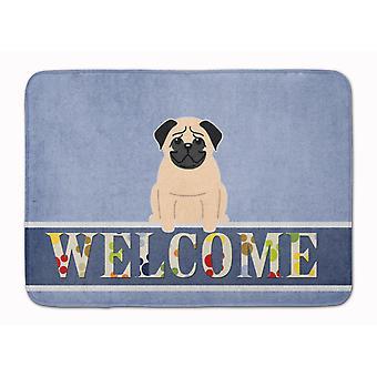 Carolines skatter BB5589RUG Pug Fawn Välkommen maskin tvättbara minne skum matta