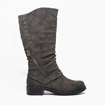 Cipriata Sasha Ladies Faux Nubuck Zip Up High Leg Boot Grey