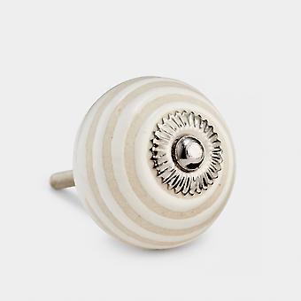 Ceramic Door Knob - Cream - Swirl