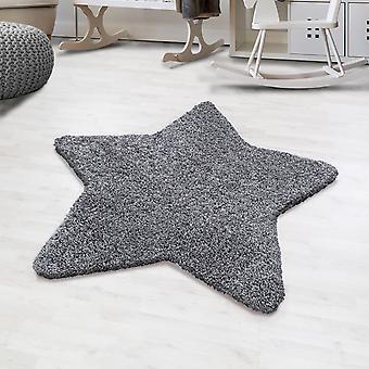 Shaggy high flor rug solid color grey star shape children's rug nursery matte