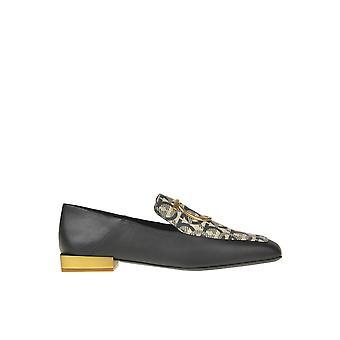 Salvatore Ferragamo Ezgl044071 Women's Black Leather Loafers