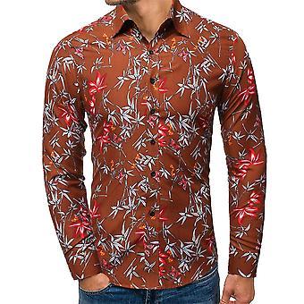 Allthemen Pánske&apos, s populárne kvetinové vytlačené klopě tričko s dlhým rukávom
