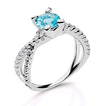 Orphelia Silver 925 Ring With Zirconium and Blue Stone